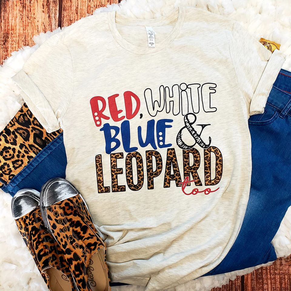 RED, WHITE, BLUE & LEOPARD TOO